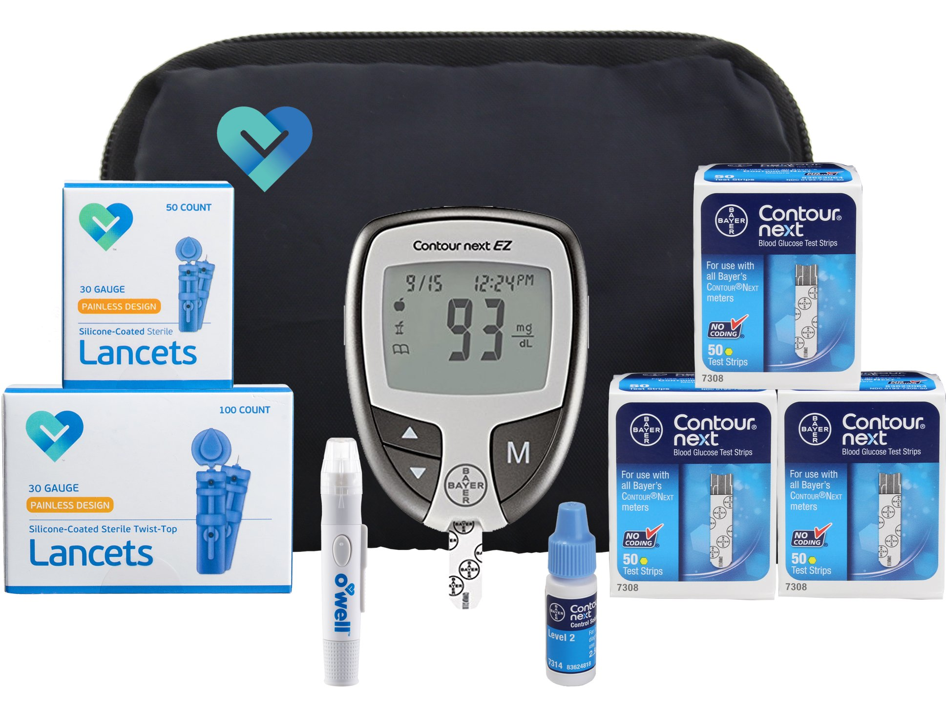 Contour NEXT Blood Sugar Testing Kit, 150 Count | Contour NEXT EZ Meter, 150 Contour NEXT Blood Glucose Test Strips, 150 Lancets, Lancing Device, Control Solution, Manual's, Log Book & Carry Case