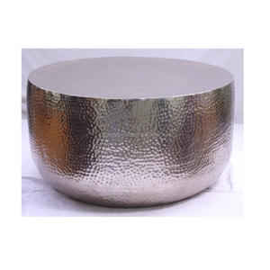 Aluminum Silver Round Hammered Coffee Table