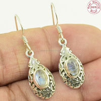 Ladies fine natural rainbow moonstone 925 sterling solid silver earring fine gemstone jewelry indian silver jewelry