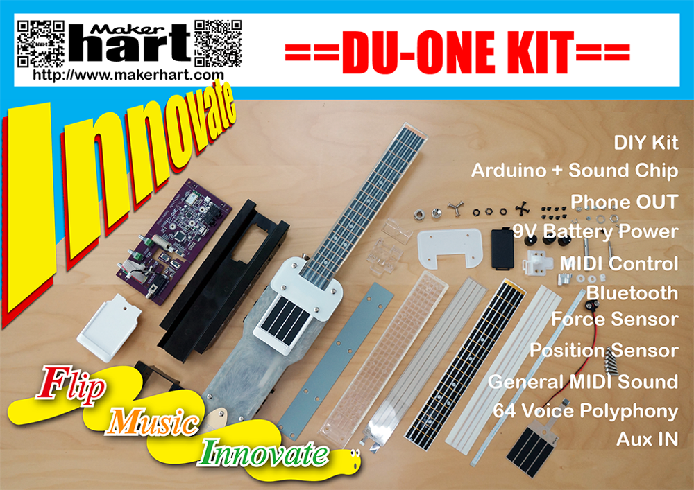 Maker hart DIY DU-ONE for arduino ukulele kit Bluetooth MIDI kits by Taiwan