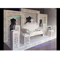 White Wedding Theme Bollywood Stage, Arabian Reception Stage Setup, Visually Grand Look Stage Set
