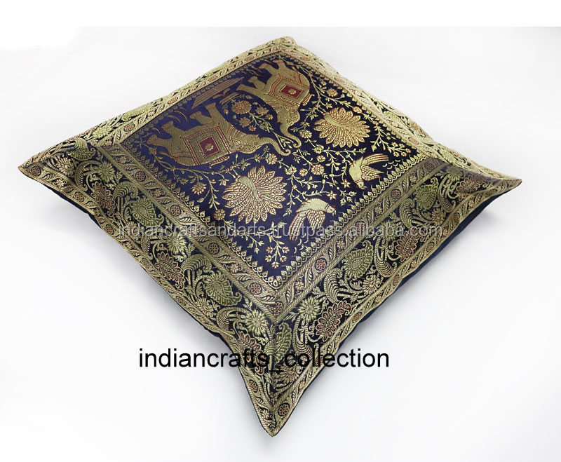 Indian Silk Cushion Cover Vintage Pillow Cases Pillow Cover Pillow Case Throw Indian Handmade Elephant Brocade Art decorative