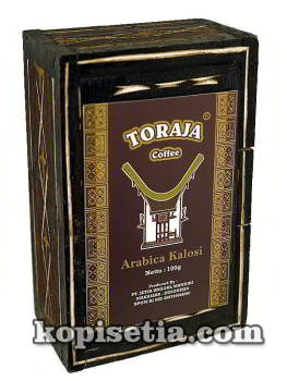 Souvenir Box Unique Toraja Arabica Kalosi Coffee 100g with Wooden Box