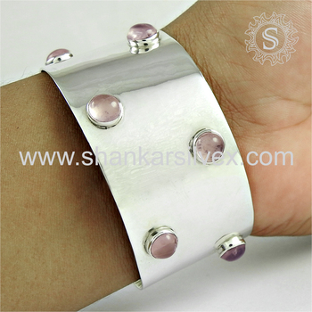 New fashion design silver bangle rose quartz gemstone 925 sterling silver jewelry bangles wholesaler