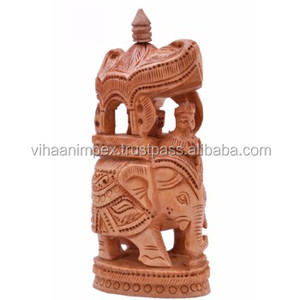 Indian Designer Wooden Handicraft Carving Elephant Best Home Office Decor & Gift
