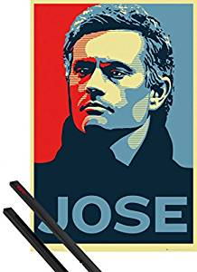 Poster + Hanger: Football Poster (36x24 inches) Chelsea, Jose Mourinho And 1 Set Of Black 1art1 Poster Hangers