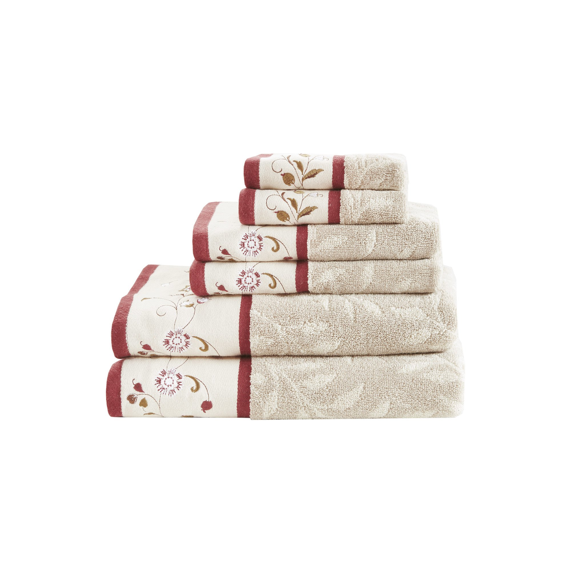 6 Piece Red Floral Embroidered Towel Set, Beige White Jacquard Leaf Motif Flowers Embroider Hem Theme Towels, Rich Hues Soft Water Absorbent Elegant Bathroom Hand, Cotton Terry Cloth