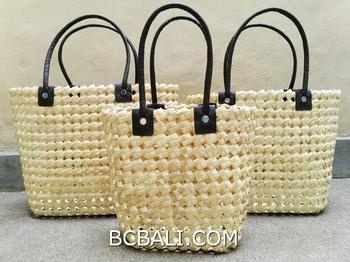 Bali Straw Grass Hand Woven Handbag Handmade Set Of 3