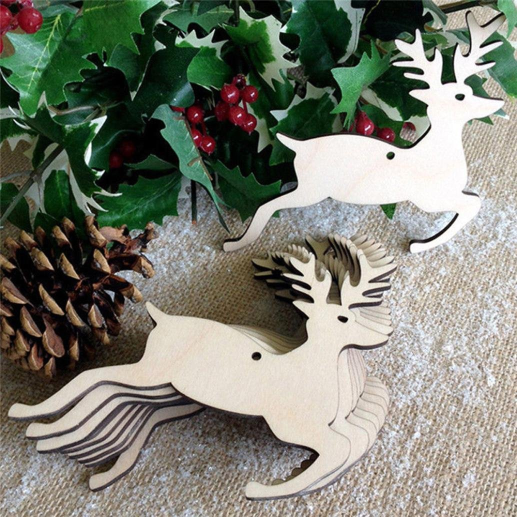 10Pcs Christmas Wood Chip Tree Ornaments Xmas Hanging Pendant Decoration Gifts,LLguz Christmas Tree Ornament Wood Xmas Hanging Pendant Home Decoration Gifts (Yellow 1)