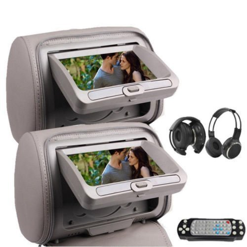 "OukuGrey Gray Color Pair of Headrest Pillow 7"" LCD Car Monitors with Region Free DVD player USB SD Wireless Dual Channel Headphones and 32 Bit Games and Zipper Cover"