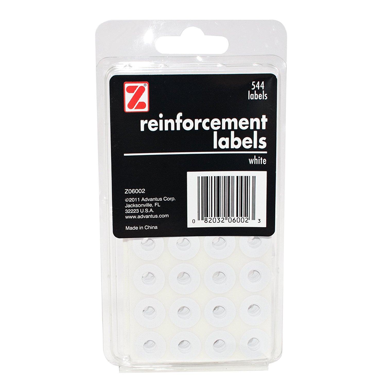 ADVANTUS Self Adhesive Reinforcement Labels, 544 Labels, White (Z06002)