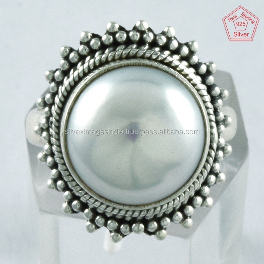 Simple Delight !! Pearl Gemstone 925 Sterling Silver Ring, Jewelry For All Occasions, Wholesale Gemstone Rings