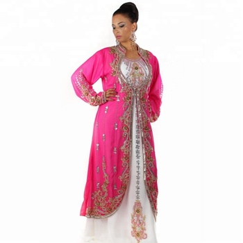 Beautiful Dubai Kaftan Formal Dress Royal Pink Wedding Gown Islamic