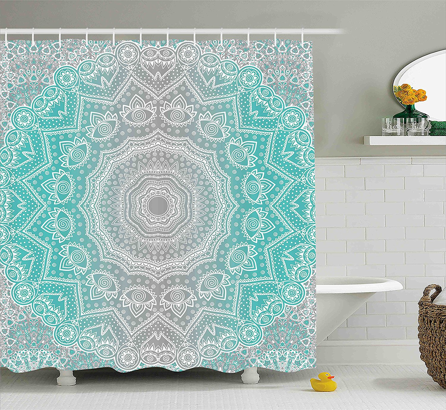 Grey and Turquoise Shower Curtain by Ambesonne, Primitive Spiritual Essence and Universe Harmony Mandala Ombre Art, Fabric Bathroom Decor Set with Hooks, 70 Inches, Turquoise Grey