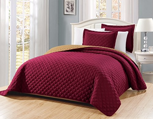 "Fancy Linen 3pc Solid Diamond Quilted Bedspread Burgundy New # Ontario King/California King Over Size 118"" x 106"""
