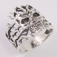 Handmade Jewelry Skull Biker Men's Gothic Finger Ring Size US 5,6,7,8,9 and 10 Solid 925 Sterling Silver