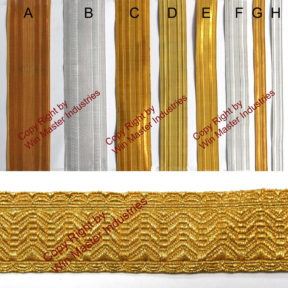 Gold Mylar Braid Lace for Military Uniform or Costume Bias and Stand B/&S