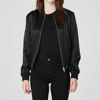 Womens Silk Bomber Jacket In Black Girls Black Nylon Bomber Flight Jacket