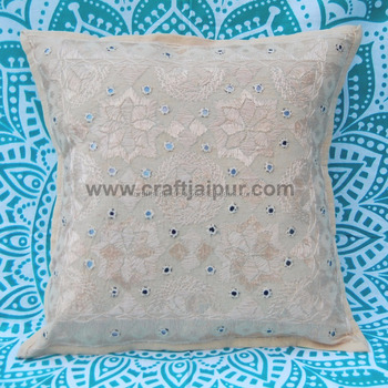 White Mirror Work Embroidered Pillow Cases Indian Decorative Cushion