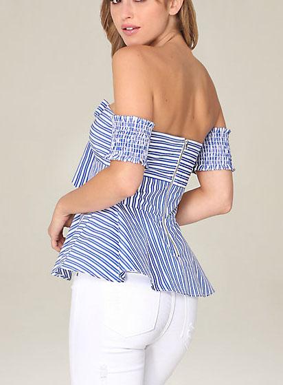 bb1dbca86d6dad Ladies Fancy Fashion Blouse Tops Strapless Stripe Women Sexy Blouse ...