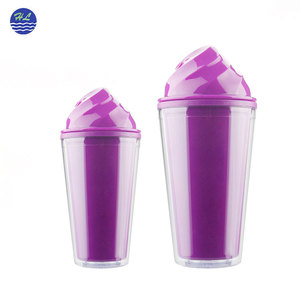 BPA free wholesale 16oz double wall reusable customized plastic ice cream drink tumbler with straw