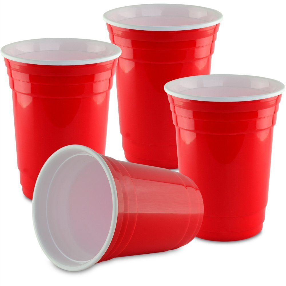 Double Wall 16 oz. Red Party Cup - 4 Pack- Reusable Beverage Cup - Insulated for Drinking Beer