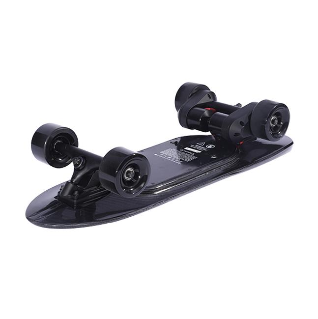 iFasun hangzhou factory aero plastic alloy deck wireless remote electric skateboard with dual belt motor, Black/customized