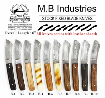 B Series Damascus Steel Knives in Variety of Handle Materials