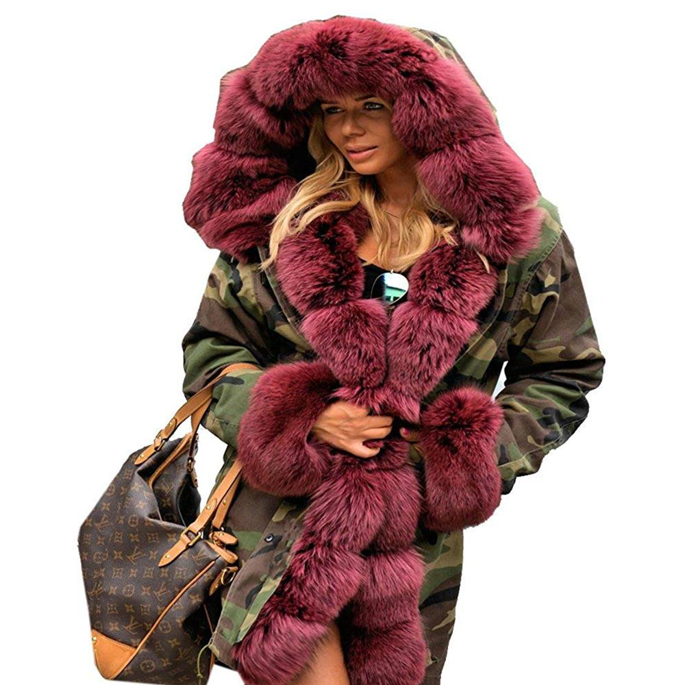 Winter frauen Fuchs Pelz Mantel Warme Kapuze Parka Damen Langen Graben Jacke Outwear mode winter mäntel