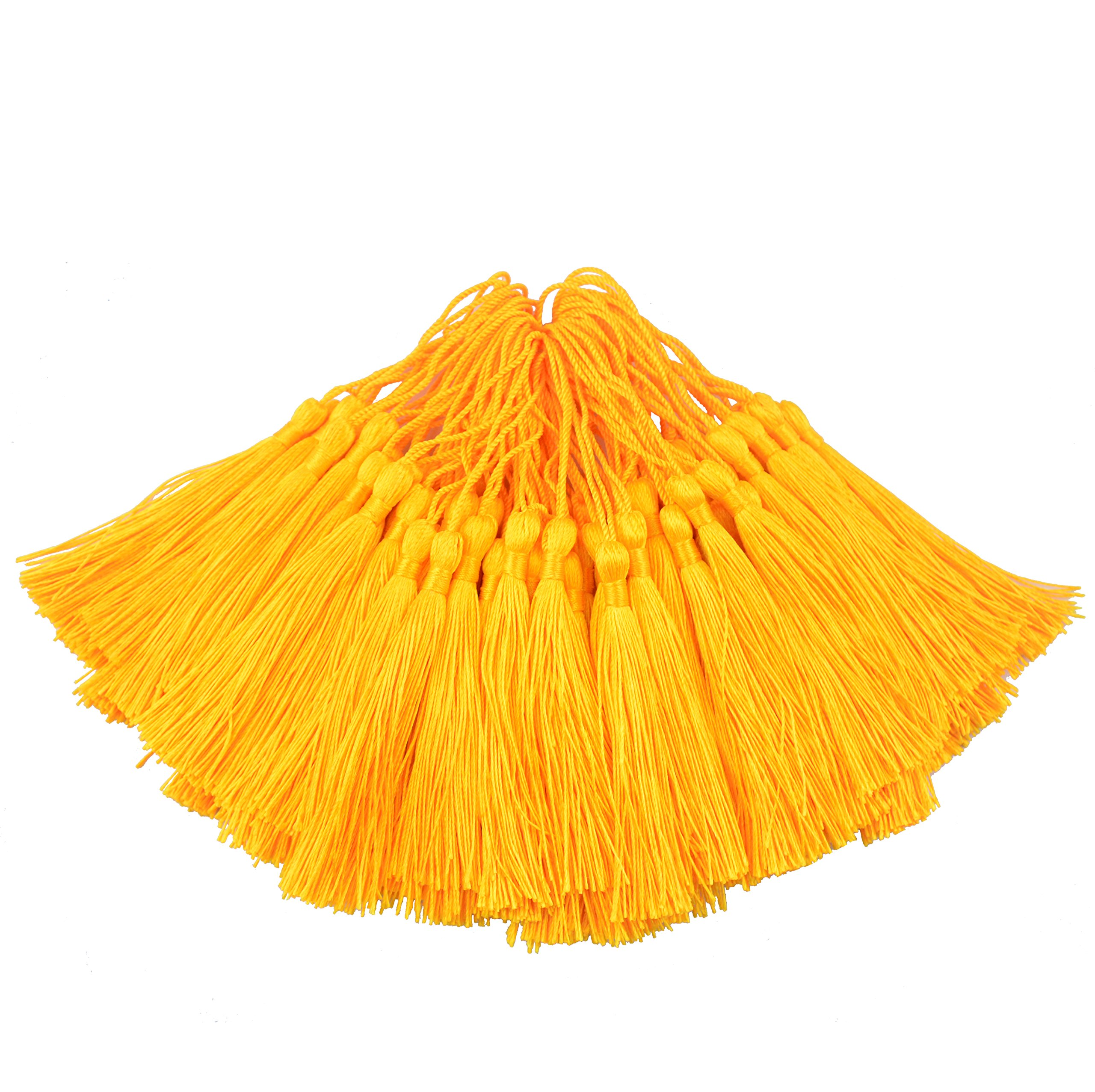 100pcs 13cm/5 Inch Silky Floss bookmark Tassels with 2-Inch Cord Loop and Small Chinese Knot for Jewelry Making, Souvenir, Bookmarks, DIY Craft Accessory (Royal Gold)