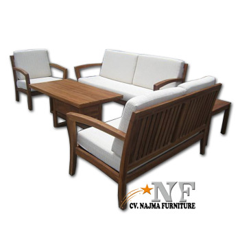 Good Quality Living Room Furniture Solid Teak Wooden Sofa Set