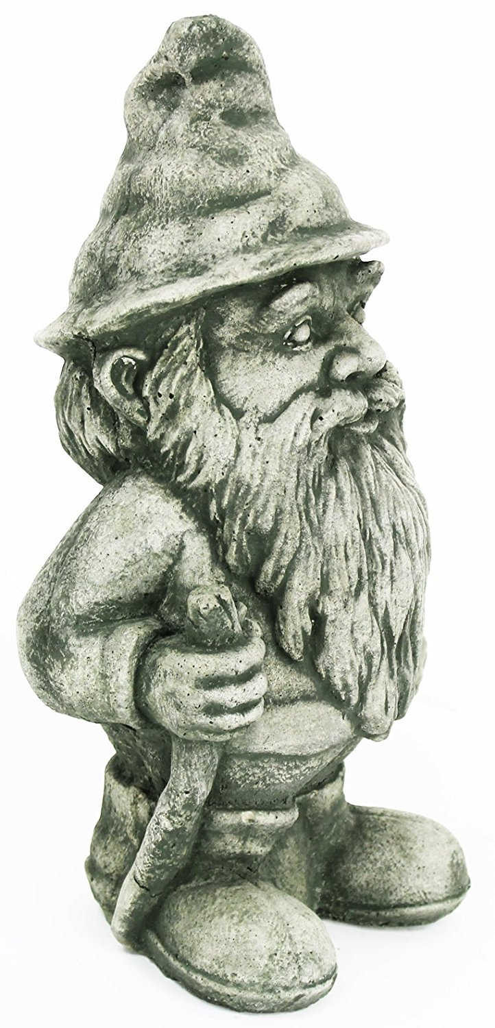 Hiking Gnome Concrete Statue Cement Outdoor Garden Elf