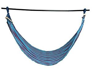 K&A Company Portable Hammock Camping Hanging Swing Outdoor Bed Wood Canvas in Blue & Dark Red