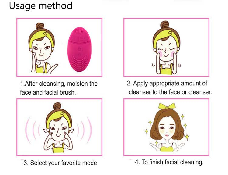 Beauty item ion import silicone facial brush vibrating facial cleansing brush