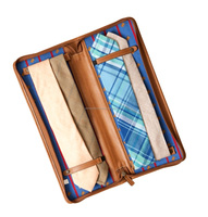 Brown leather tie case with zip closure