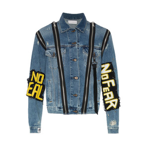 OEM custom new fashion mens denim jacket zip embellishments Monster printed jackets for man