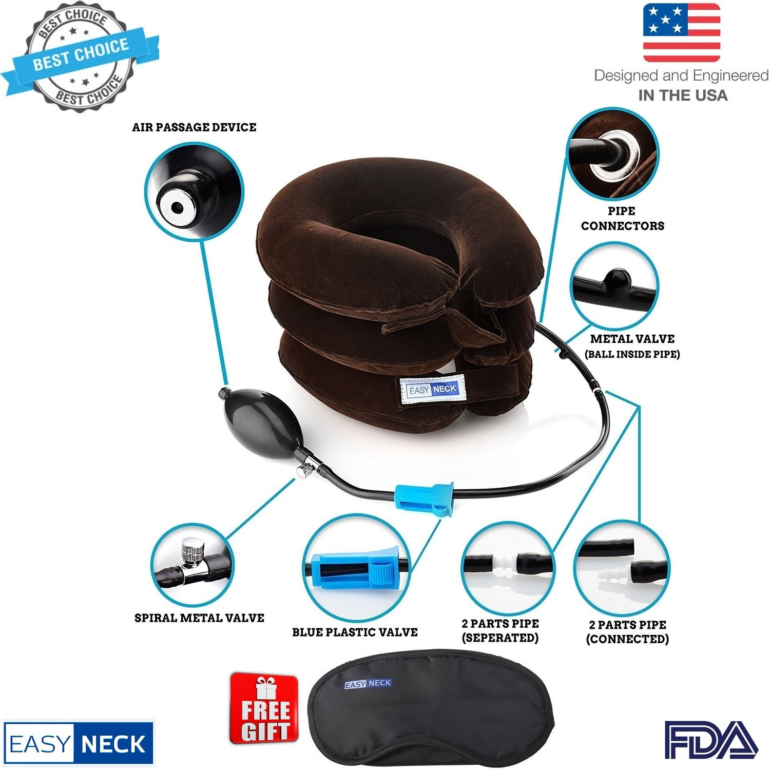EasyNeck Cervical Neck Traction Device FDA Registered ✮ Inflatable & Adjustable Neck Stretcher Collar for Home Traction Spine Alignment