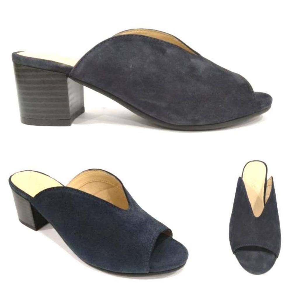 Ladies Black Leather Wooden Heel Mule