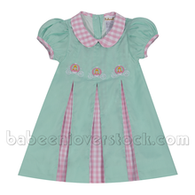 Carino ricamo dress for little girl in menta tessuto