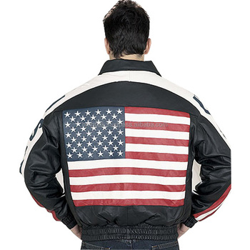 64d6394c9d4 HMB-0424A LEATHER JACKET USA FLAG STYLE COAT AMERICAN FASHION BOMBER JACKETS