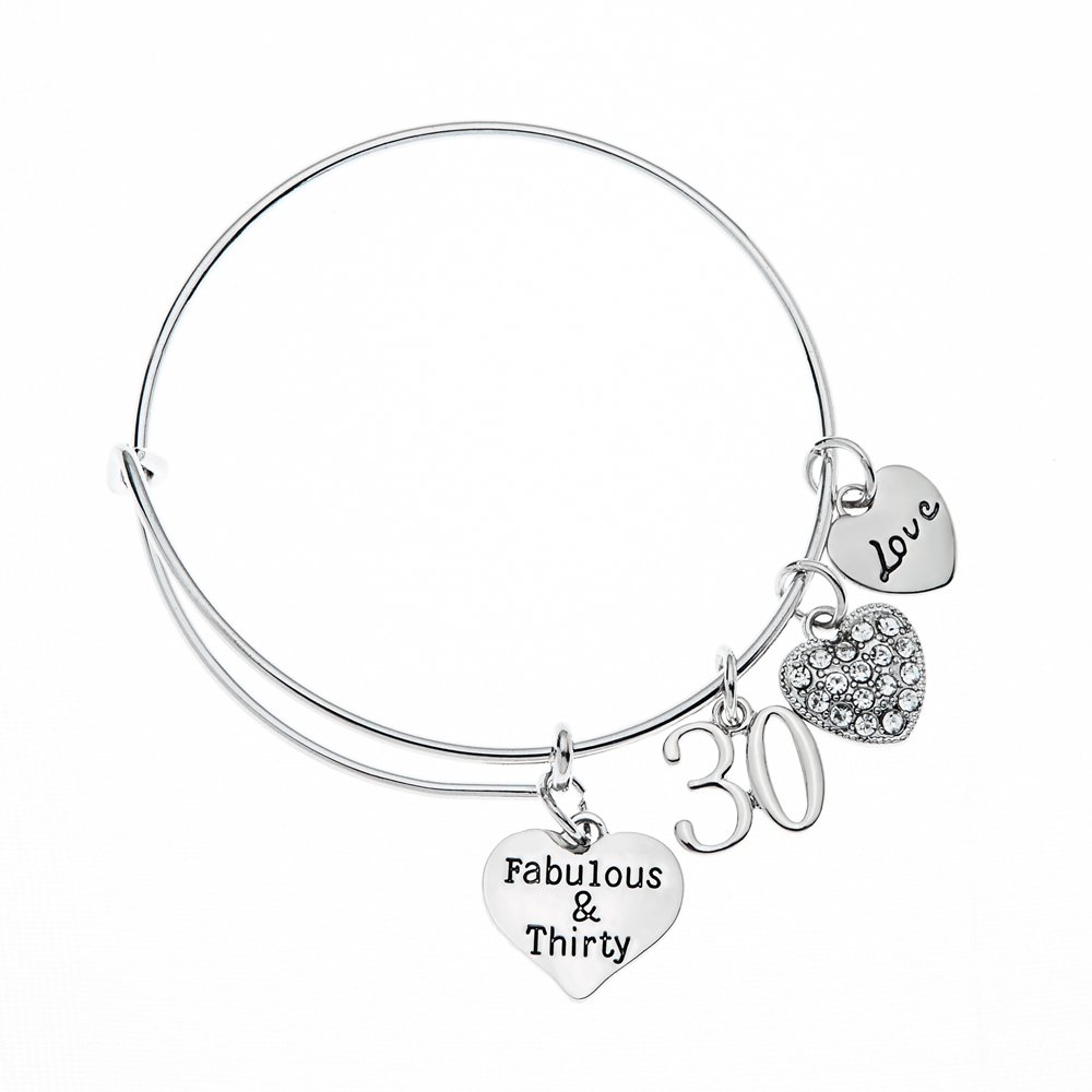 Infinity Collection 30th Birthday Gifts For Women Charm Bracelet Adjustable Bangle