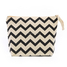 TCC014, Free Shipping,Chevron Printed cotton cosmetic bag,20x15x5cm,Custom Accept