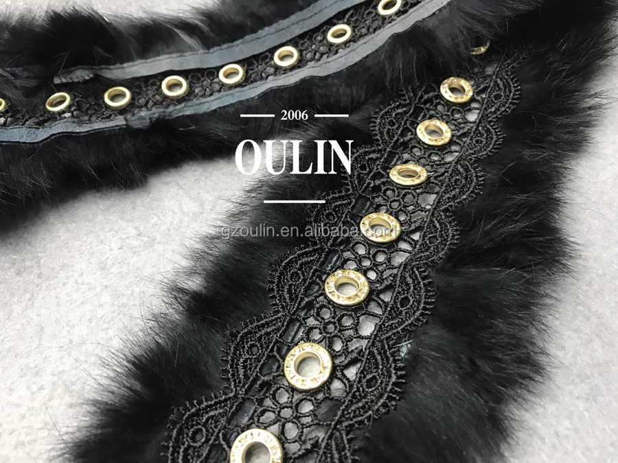 Fashion new design hot selling real rabbit hair eyelet lace trim cheap price good quality for coat and garments