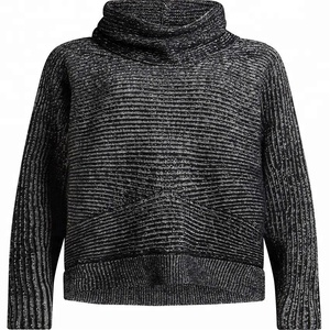 Best selling knitwear ladies high neck women ribbed loose pullover sweater