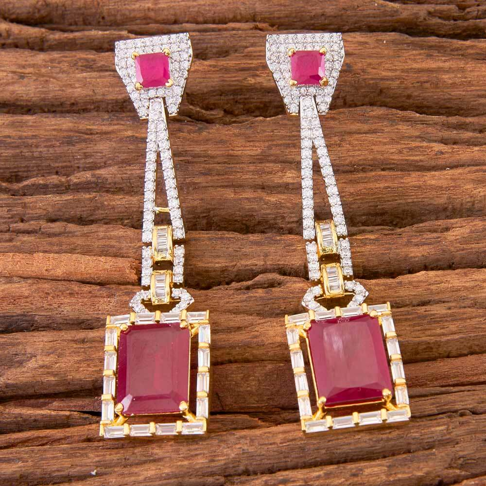 2 Tone Plated Classic Earring In Wholesale Jewelry 58462 Ruby