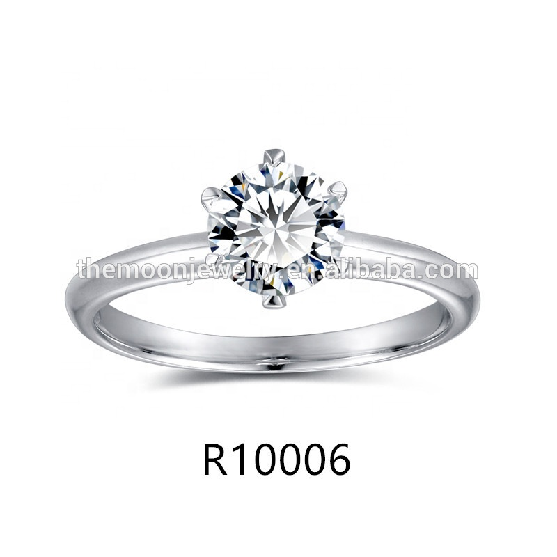 Wholesale Retail 925 <strong>Silver</strong> With Rhodium Plated 6 Claws AAA Cubic Zirconia Solitaire Ring