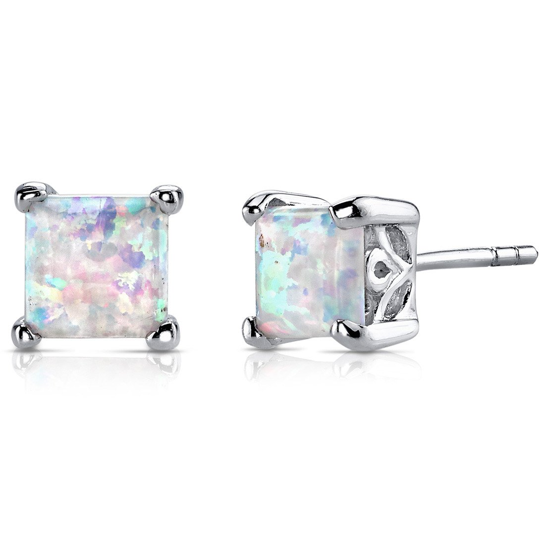 Created Opal Stud Earrings Sterling Silver Princess Cut 2.00 Carats