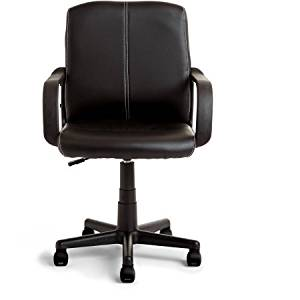 Tufted Leather Office Chair, Adjustable Height, Mid Back Chair with Armrests, Pneumatic Seat, Contemporary Style, Desk Chair, Office Furniture, Black or Cream Finish, BONUS E-book (Black)