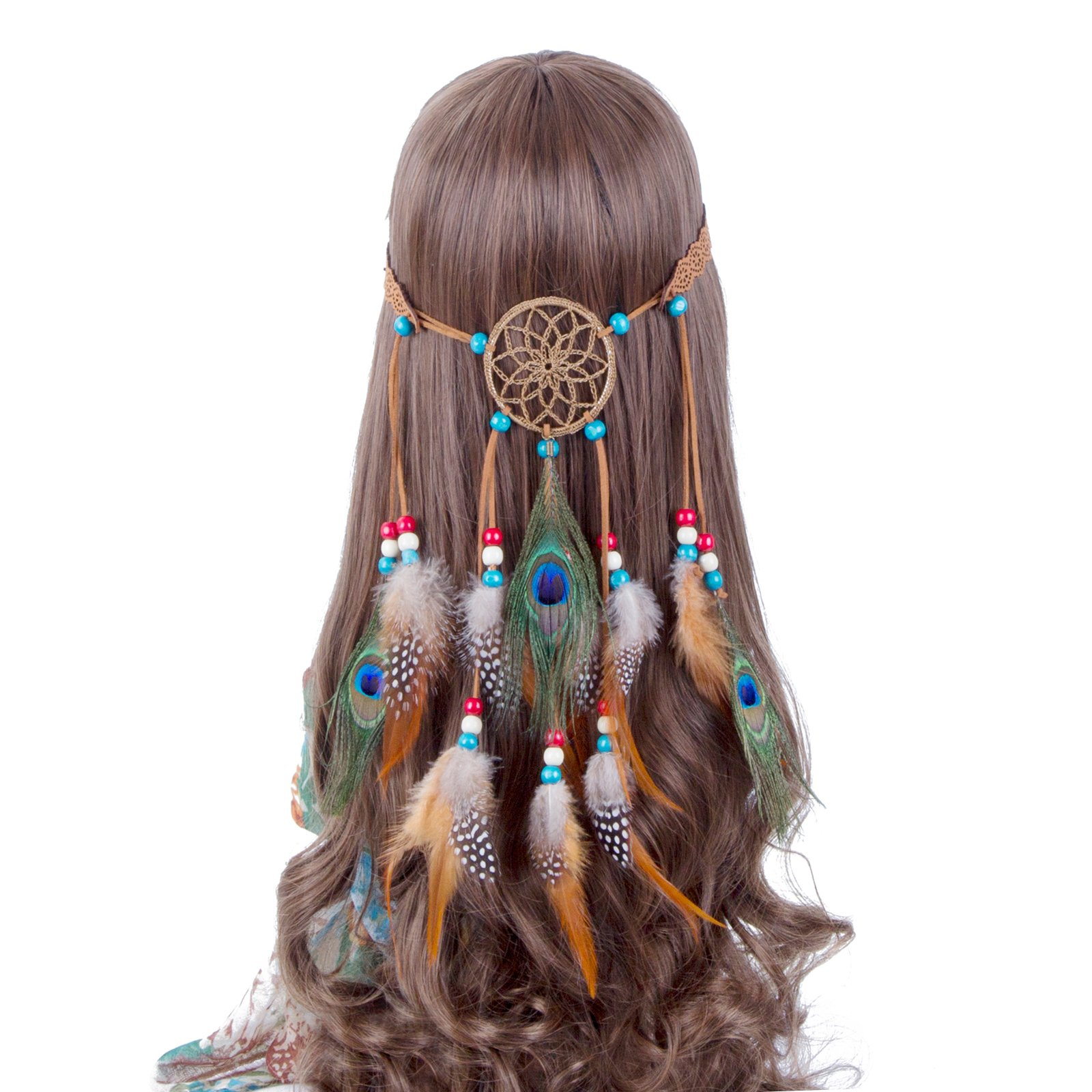 229caee277b9 ... Bags. 15.00. null. Get Quotations · Hippie Headband Feather  Dreamcatcher Headdress - AWAYTR New Fashion Boho Headwear Native American  Headpiece Hippie ...
