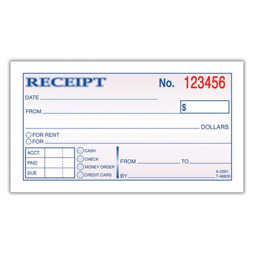 Adams Business Forms Products - Adams Business Forms - Receipt Book, 2-3/4 x 5-3/8, 2-Part, 50 Forms - Sold As 1 Each - Keeps a bound record of receipt. - Consecutively numbered for accurate record keeping. - Check-offs for cash, check or money order.
